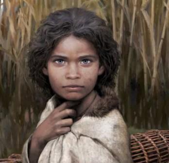 Ricostruzione del volto di una donna ricostruita dal dna di un chewing-gum di 5700 anni fa . Studio Fidecicchi.